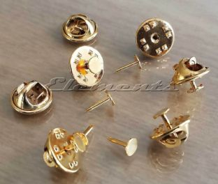 Gold Plated 5mm Tie Badge Brooch Tac Pin & Clutch Backs